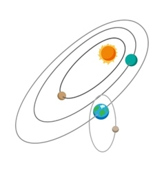 Solar system cartoon icon vector