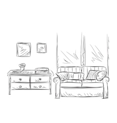 Room interior sketch place for relax vector
