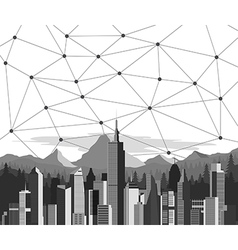 Connection line with city background vector