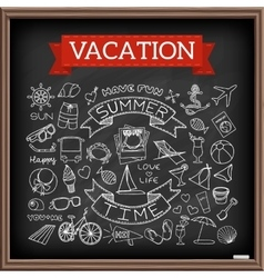 Vacation doodles on chalk board vector
