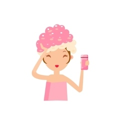 Girl washing her hair vector