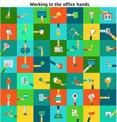 Set of office working hands vector