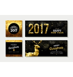 Merry christmas 2017 gold card and banner set vector