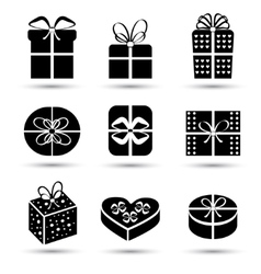 Gift box black icon set different styles vector