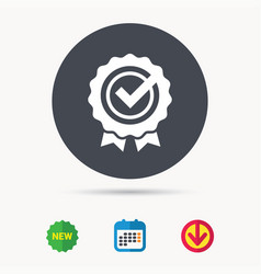Award medal icon winner emblem with tick sign vector