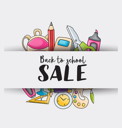 Back to school sale doodle clip art greeting card vector