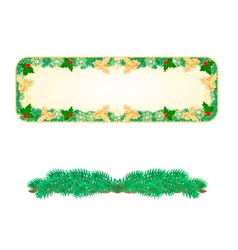 Banner christmas spruce with and holly vector
