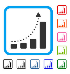 bar chart positive trend framed icon vector image vector image