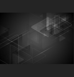 Black tech background with triangles shape vector image
