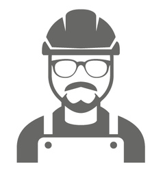 Builder in hard hat and glasses - foreman icon vector