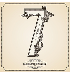 Calligraphic font number 7 vector