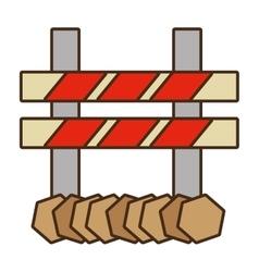 Cartoon barrier caution danger road sign design vector