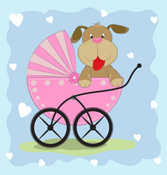 dog in wheelchair vector image vector image