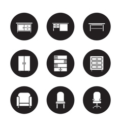 Furniture black icons set vector image vector image