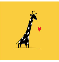 giraffe in love funny sketch for your design vector image vector image