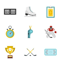 Hockey elements and figure skating icons set vector