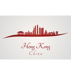 Hong Kong V2 skyline in red vector image vector image