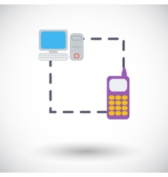 Phone sync single flat icon vector