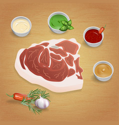 pork with tasty sauces vector image vector image