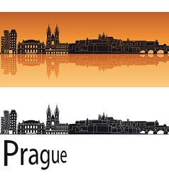 Prague skyline in orange background vector image