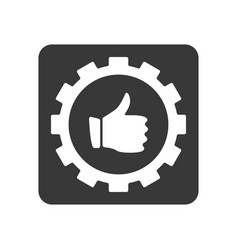 quality control icon with thumb up in gear sign vector image vector image