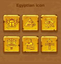 Set of design golden egypt travel icons vector