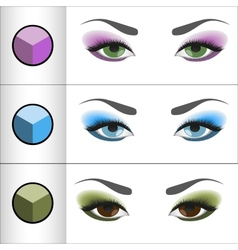 Shadows pallettes for different eye colors vector
