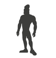 silhouette healthy man athletic muscular vector image