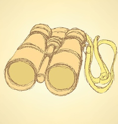 Sketch cute binocular in vintage style vector image