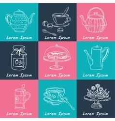 Tea time doodle set Sketch vector image