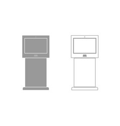 Terminal stand with touch screen grey set icon vector