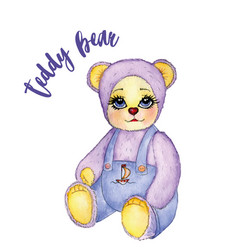 toy baby bear cute pants watercolor vector image vector image