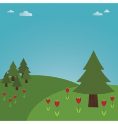 trees and flowers vector image vector image