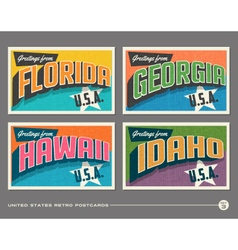 United states vintage postcards vector