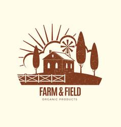 vintage rural farm emblem with farm house vector image