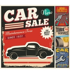 Vintage set of cars for advertising vector image