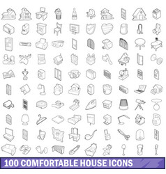 100 comfortable house icons set outline style vector