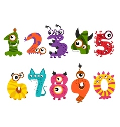 Funny cute monster numbers for halloween party vector