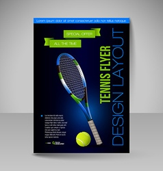 Flyer template sport elements for design tennis vector
