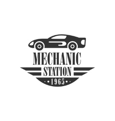 Car repair workshop station black and white label vector