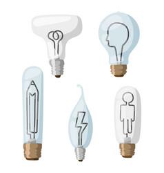 creative idea lamps cartoon flat vector image
