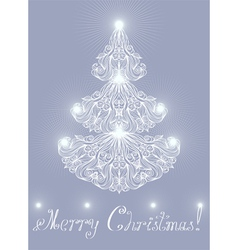 Greeting card with lacy pine vector image