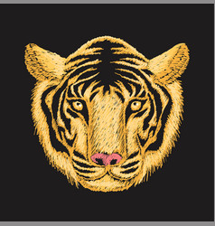 tiger face embroidery vector image