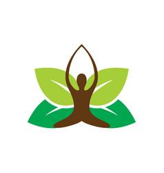 abstract leaf meditation eco logo vector image
