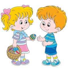Girl and boy on easter day vector