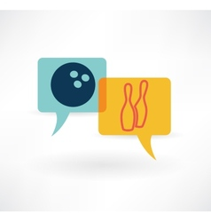 Flat speech bubble icon with bowling items vector