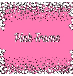 Pink frame with white stars vector