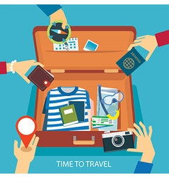 Time to travel concept flat design vector