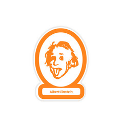 Paper sticker on white background albert einstein vector
