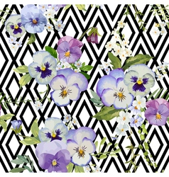 Pansy flowers geometric background vector